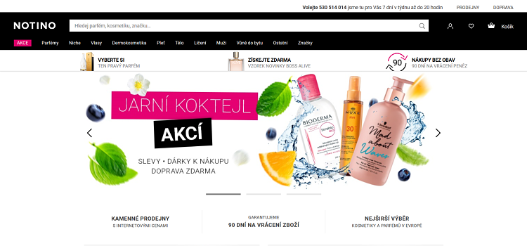 Screenshot Parfumerie notino cz