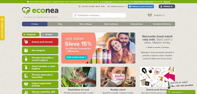 Screen eshopu Econea.cz