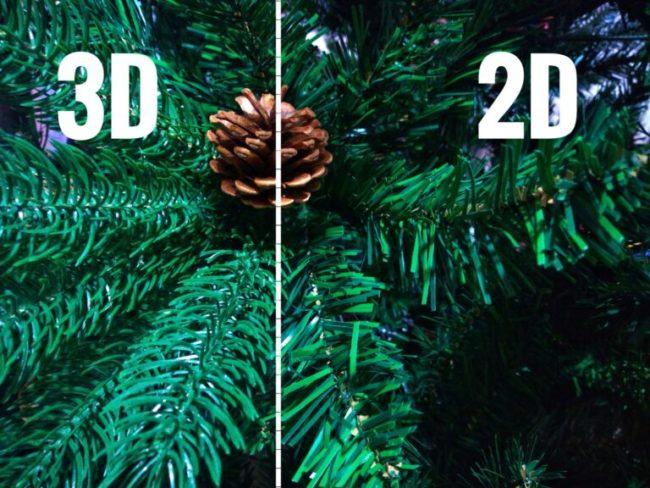 3D a 2D jehličí rozdíl